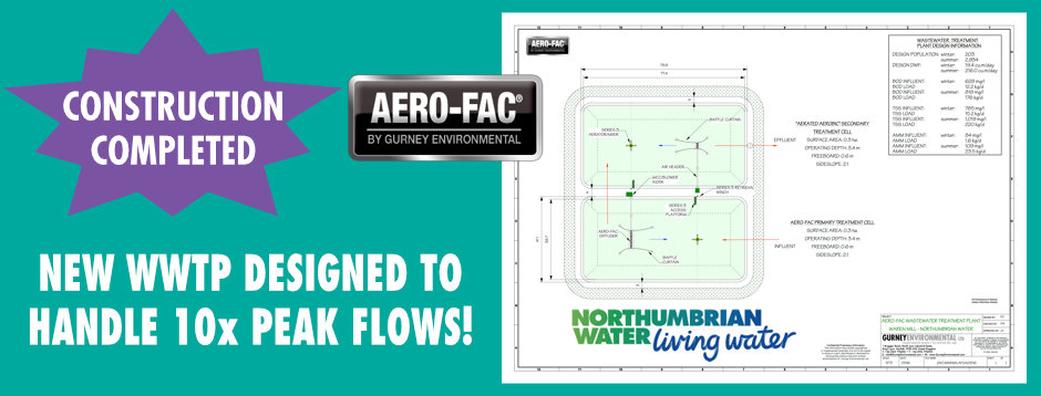 NEW NORTHUMBRIAN WATER AERO-FAC® WWTP CONSTRUCTION COMPLETED AT WAREN MILL TO HANDLE 10x SEASONAL FLOWS.